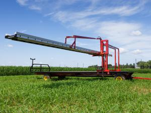 Conveyor adjusted to a high position for tall crops.