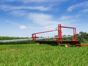 Harvest wagon with conveyor adjusted in a low position.